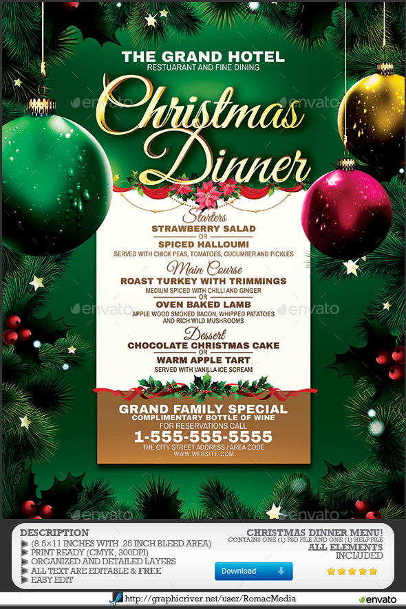 Christmas Dinner Menu by RomacMedia GraphicRiver - christmas luncheon flyer
