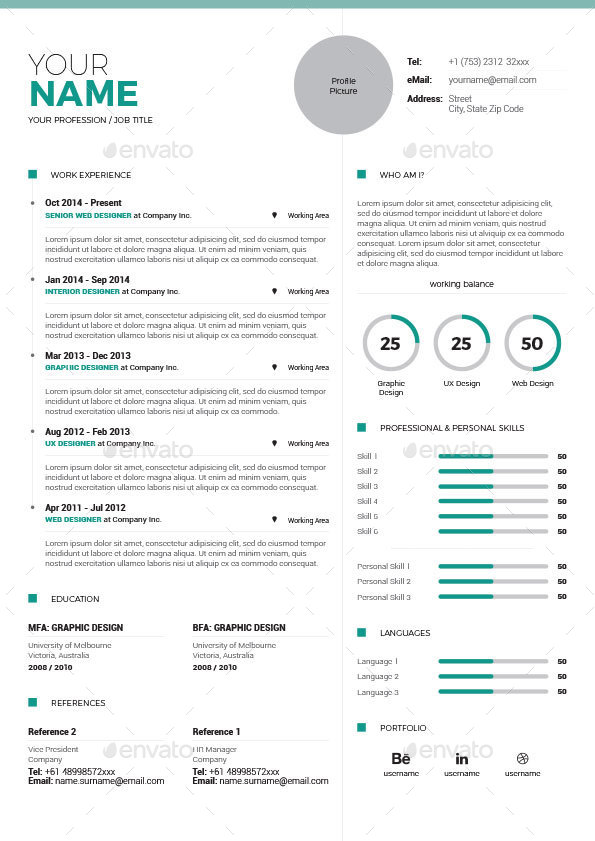 Clean Resume Vol 5 by paolo6180 GraphicRiver - clean resume design