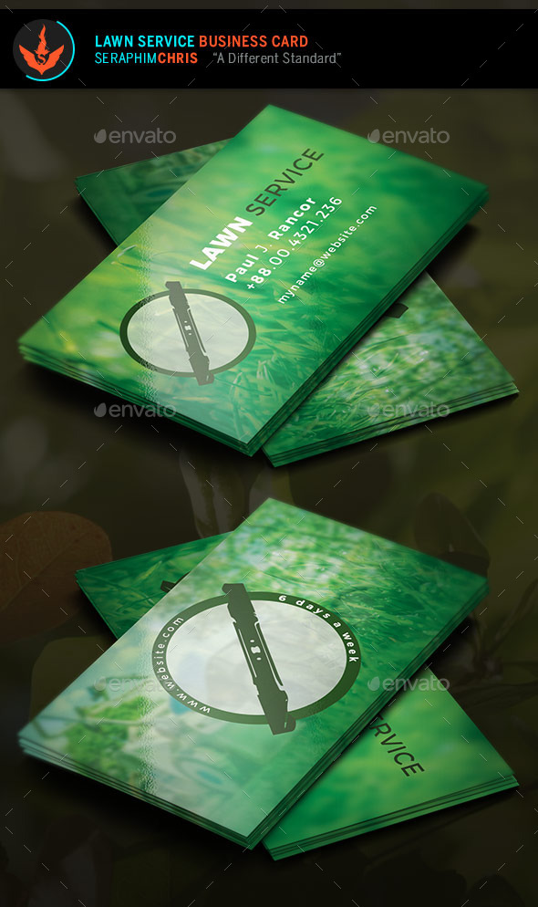 Lawn Service Business Card Template by SeraphimChris GraphicRiver - lawn care business cards