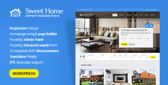 Sweethome - Responsive Real Estate WordPress Theme by PremiumLayers
