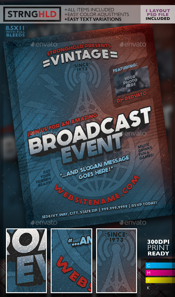 Vintage Radio Broadcast Event Flyer Template by getstronghold - retro flyer template