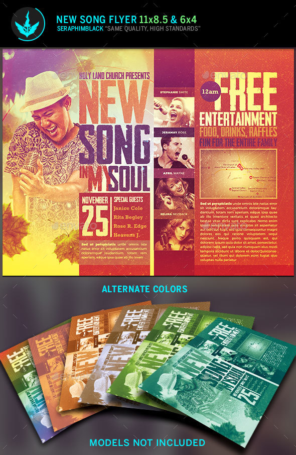New Song Gospel Concert Flyer Template by SeraphimBlack GraphicRiver
