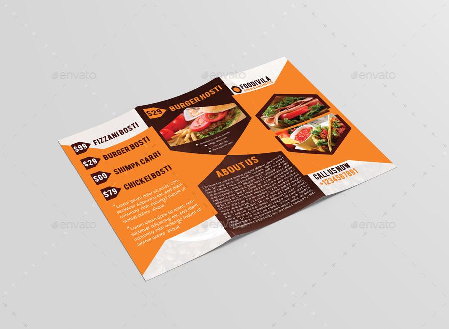 Foodivila Tri Fold Food  Restaurant Brochure Template Design by