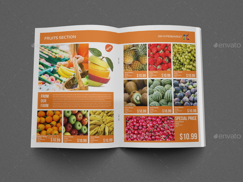 Supermarket Products Catalog Brochure Template by OWPictures - Product Brochure Template