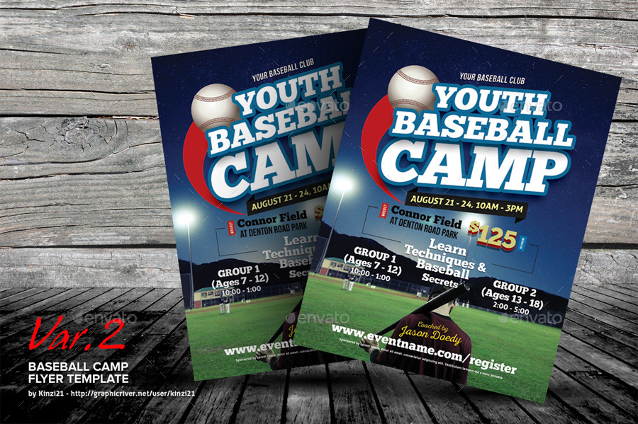 Baseball Camp Flyer Templates by kinzi21 GraphicRiver - camp flyer template