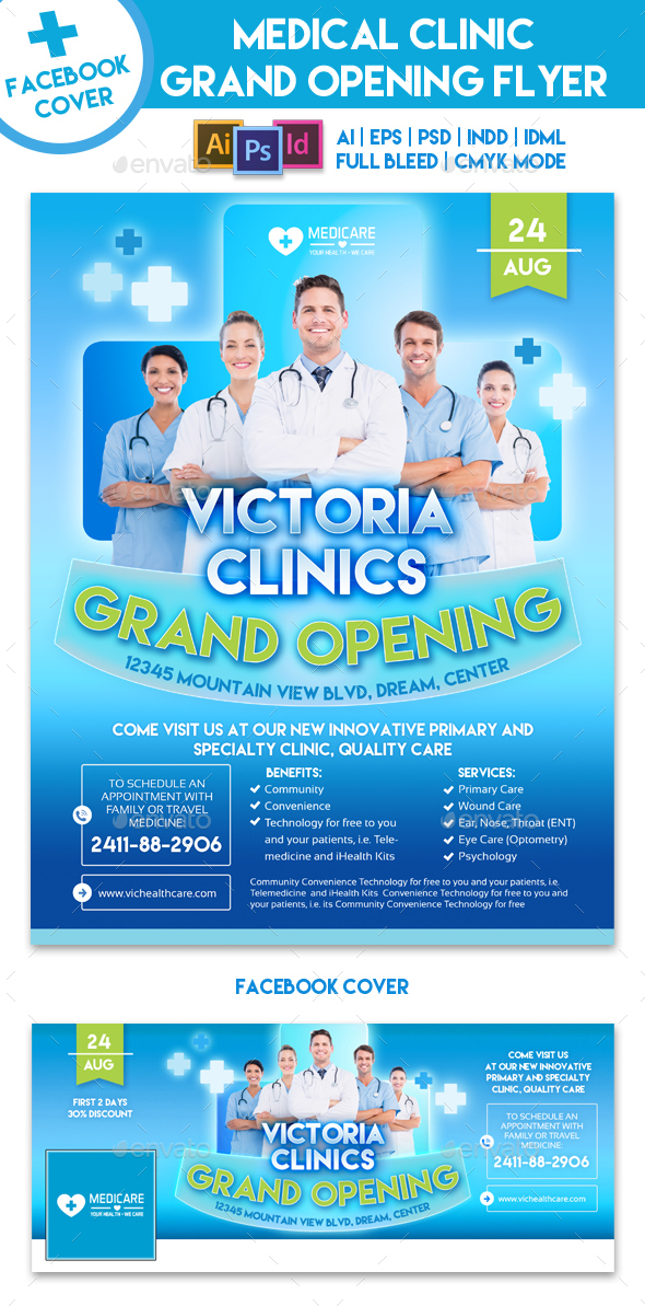 Medical Clinic Grand Opening Flyer Template by EMTY GraphicRiver - Grand Opening Flyer