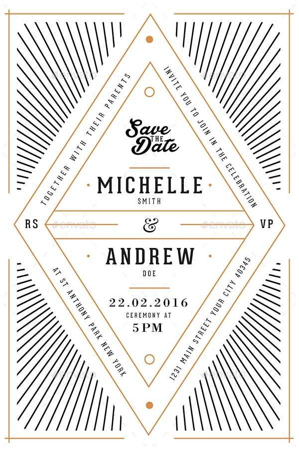 Art Deco Wedding Invitation/Card by Guuver GraphicRiver