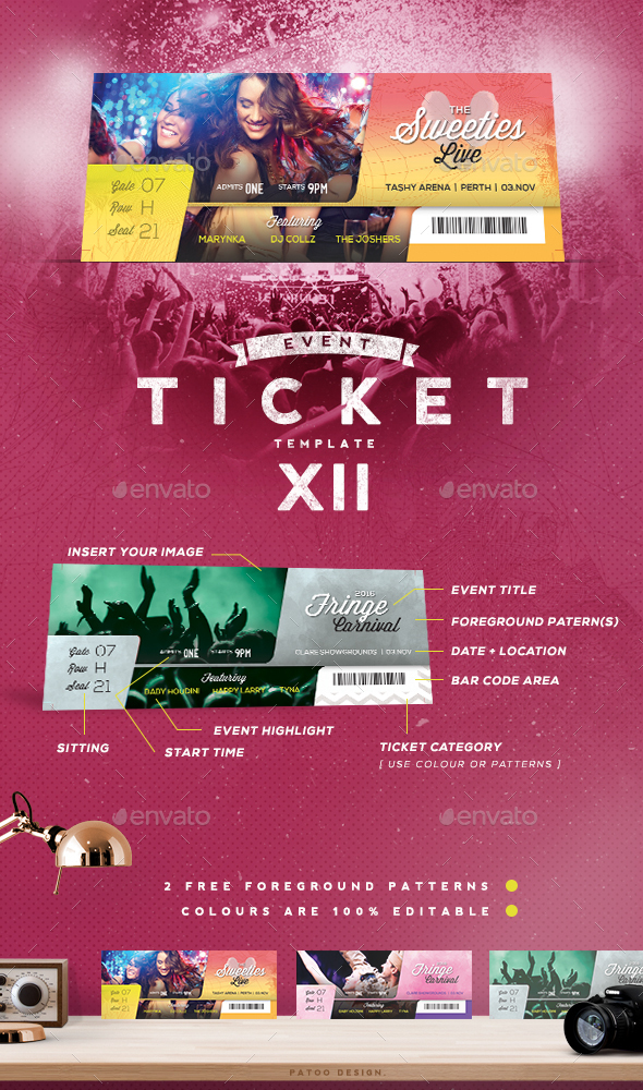 Event Tickets Template XII by patoodesign GraphicRiver