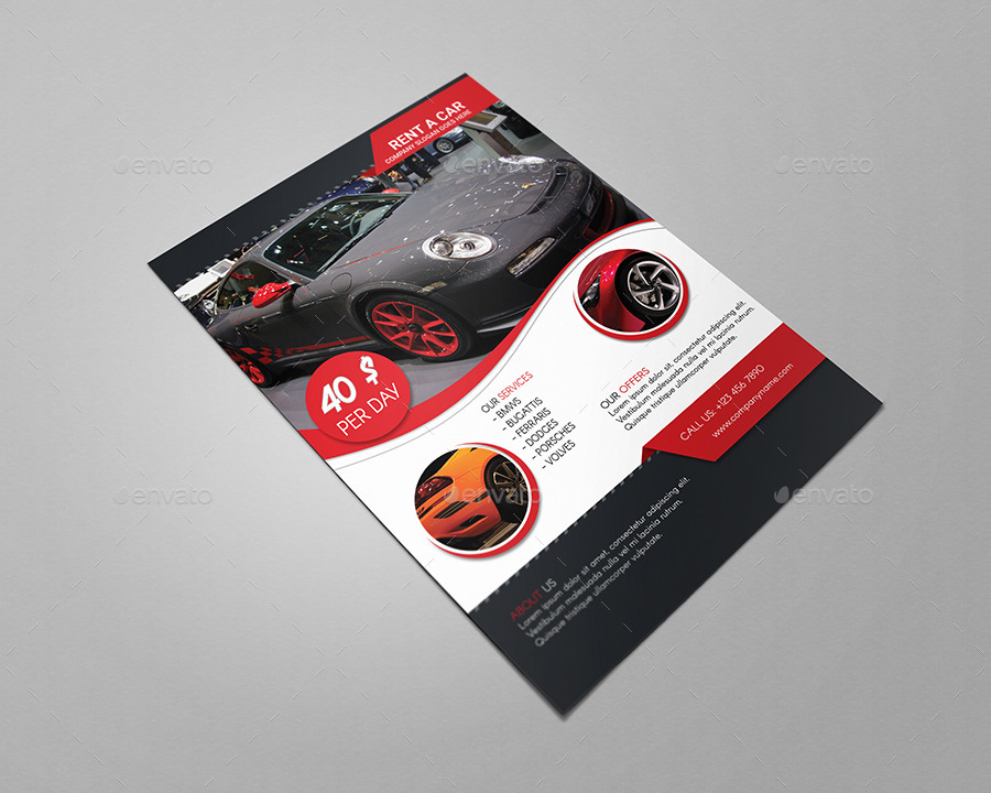 Rent A Car Flyer Template by CreativeMoon GraphicRiver - for rent flyer template