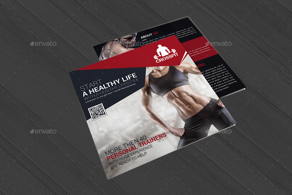 Gym and Fitness Square Trifold Brochure by DesignGenisys GraphicRiver - Fitness Brochure