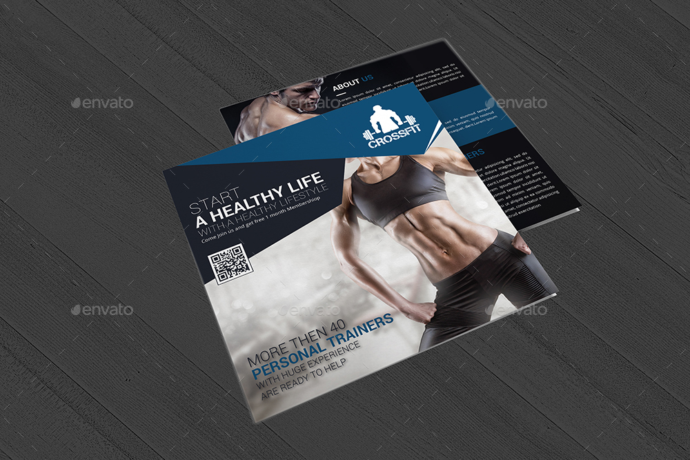 Gym and Fitness Square Trifold Brochure by DesignGenisys GraphicRiver