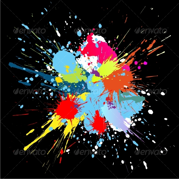 Colourful bright ink splat design at black  by Designer_things