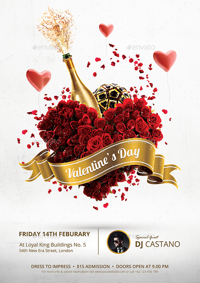 Valentines Day Party Flyer Template by bornx GraphicRiver