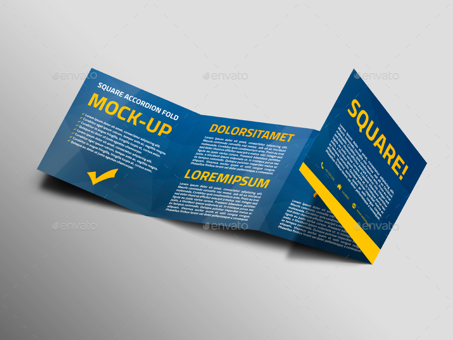 Square Accordion Fold Brochure Mock-Up by Trgyon GraphicRiver