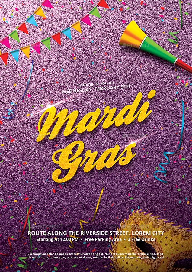 Mardi Gras Carnival Flyer Template by bornx GraphicRiver