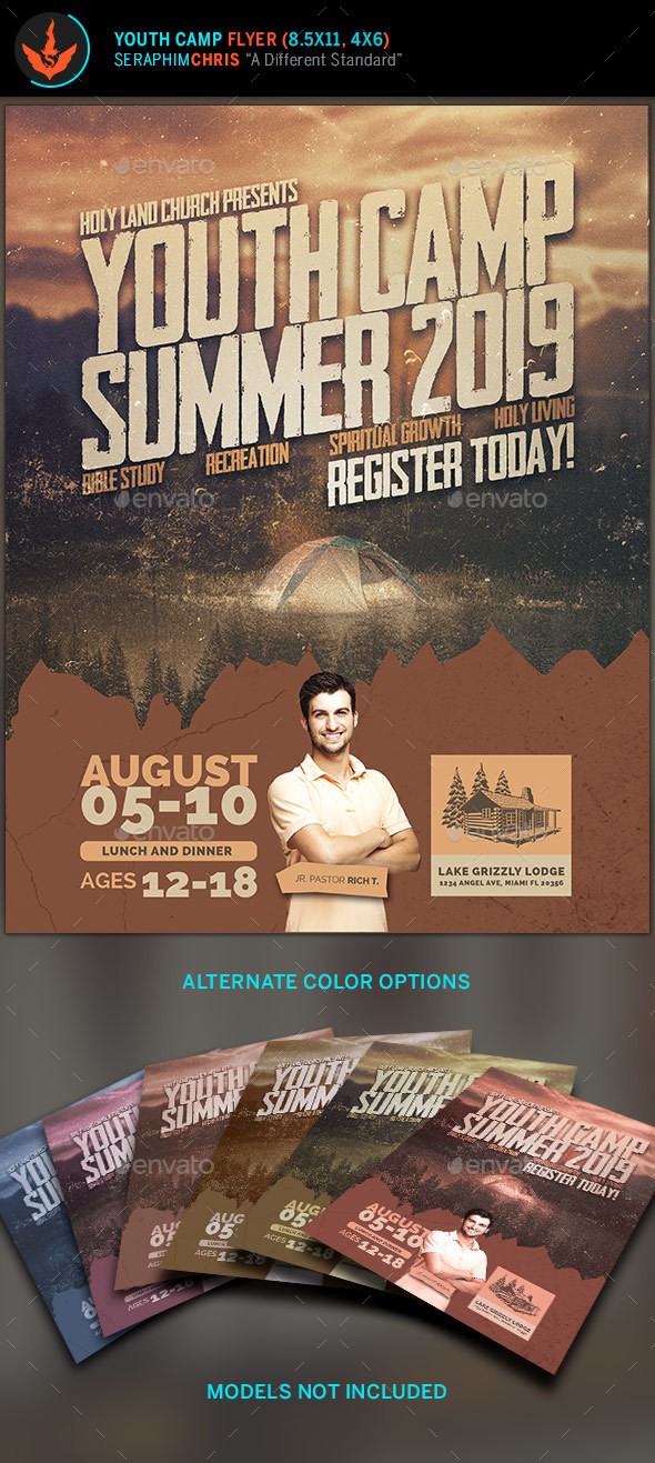 Youth Camp Flyer Template by SeraphimChris GraphicRiver - camp flyer template