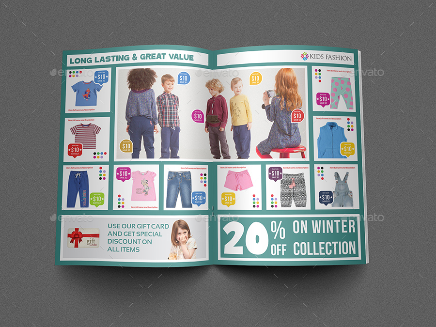 Kids Fashion Products Catalog Brochure Template by OWPictures
