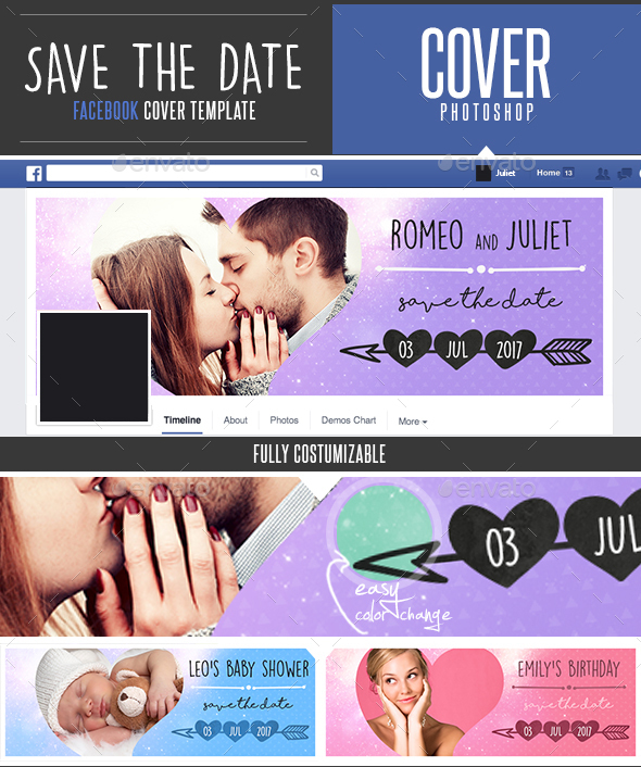 Save The Date Facebook Timeline Cover Template by DogmaDesign