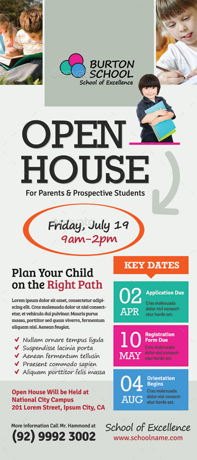 School Open House Roll-up Banner Templates by kinzi21 GraphicRiver