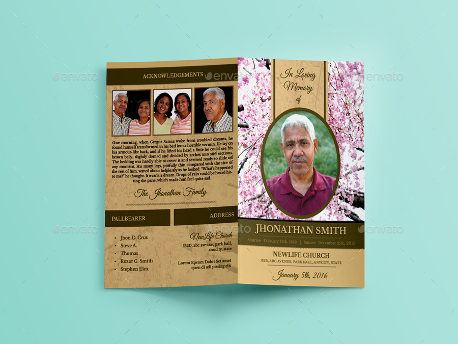 Cherry Blossom Funeral Indesign Brochure Template by - funeral brochure template