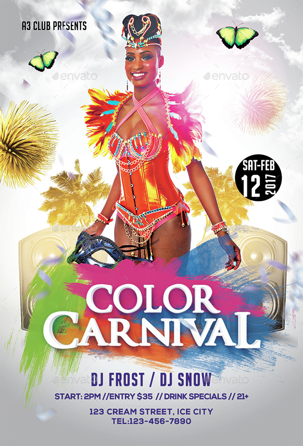 Color Carnival Flyer + Facebook Cover by Arrow3000 GraphicRiver