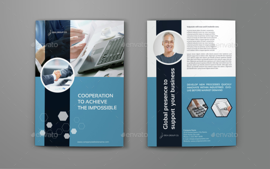Company Profile Brochure Bi-Fold Template Vol42 by OWPictures