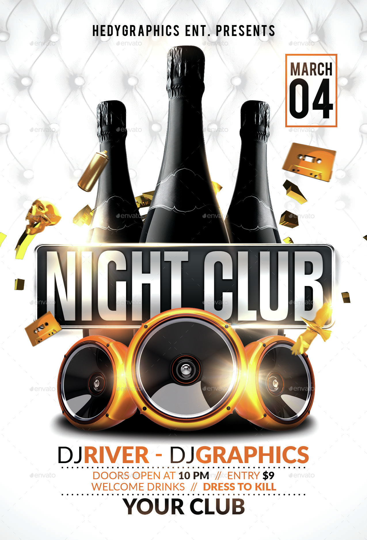 Invitation Regular Font Night Club - Flyer Template By Hedygraphics | Graphicriver