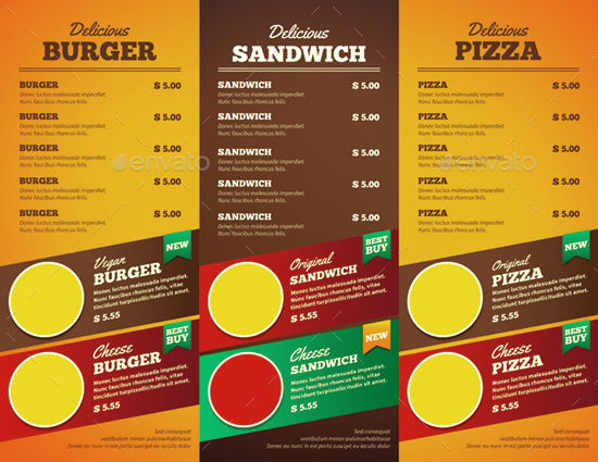 Fast Food Trifold Brochure by monggokerso GraphicRiver