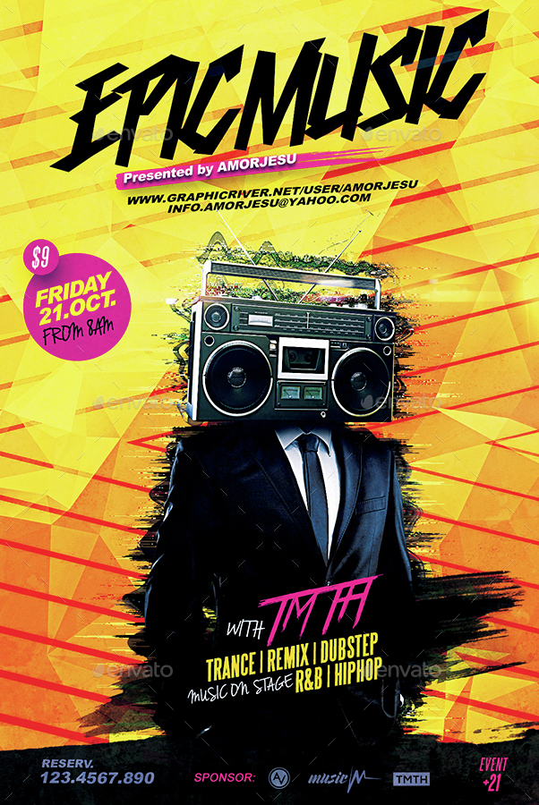 Epic Music Flyer Template by amorjesu GraphicRiver