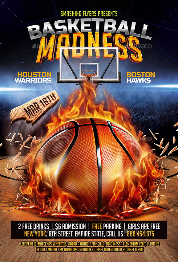 Basketball Madness Flyer by SmashingFlyers GraphicRiver - basketball flyer example