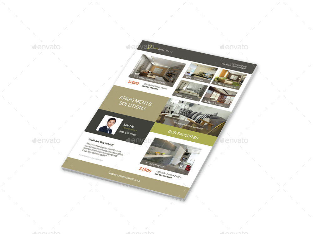 Apartment For Rent Flyers 2 \u2013 4 Options by Mike_pantone GraphicRiver