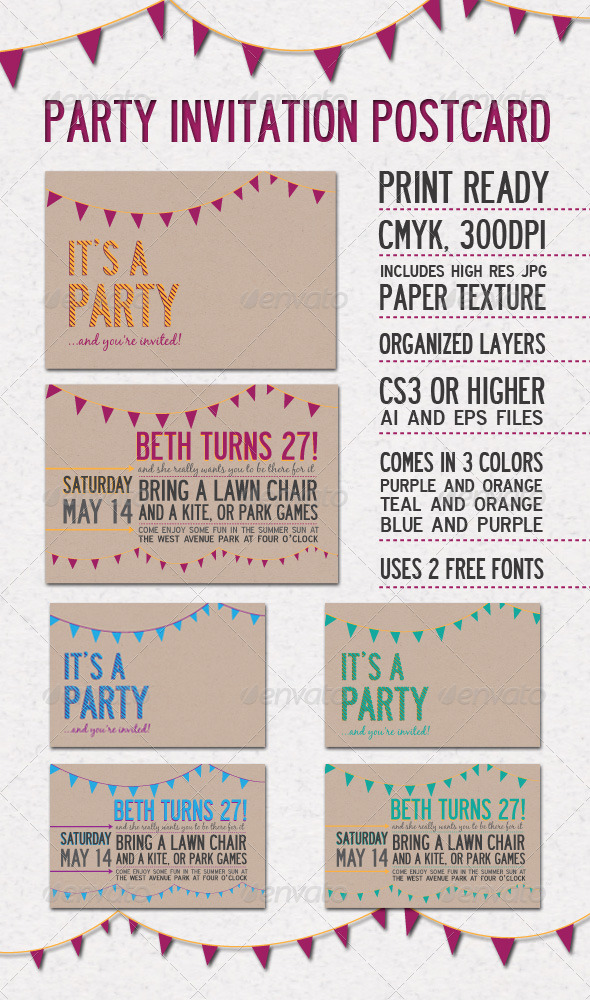 Party Invitation Postcard by everytuesday GraphicRiver - post card invitations