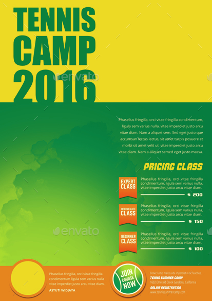 Tennis Camp Flyer by monggokerso GraphicRiver