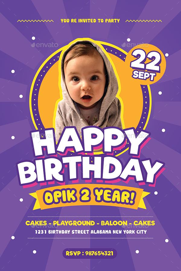 Kids Birthday Flyer cvfreepro