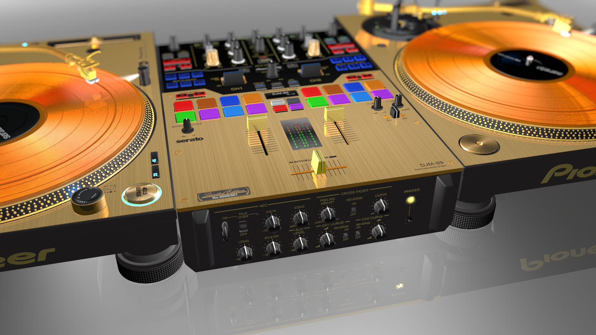 3d Wallpaper For S9 Plus Realistic Gold Prodj Turntable Pioneer Plx1000 Amp Mixer Djm