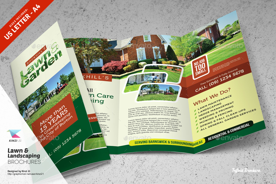 Lawn  Landscaping Trifold and Bifold Brochure Templates by kinzi21 - free landscape flyer templates