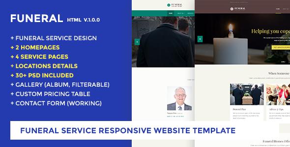 Funeral Service Website Template - Funeral Caring Home by jitu - funeral service template