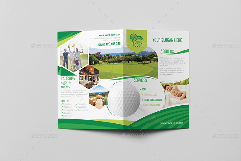 Golf Resort/ A5 Brochure Template by wutip2 GraphicRiver