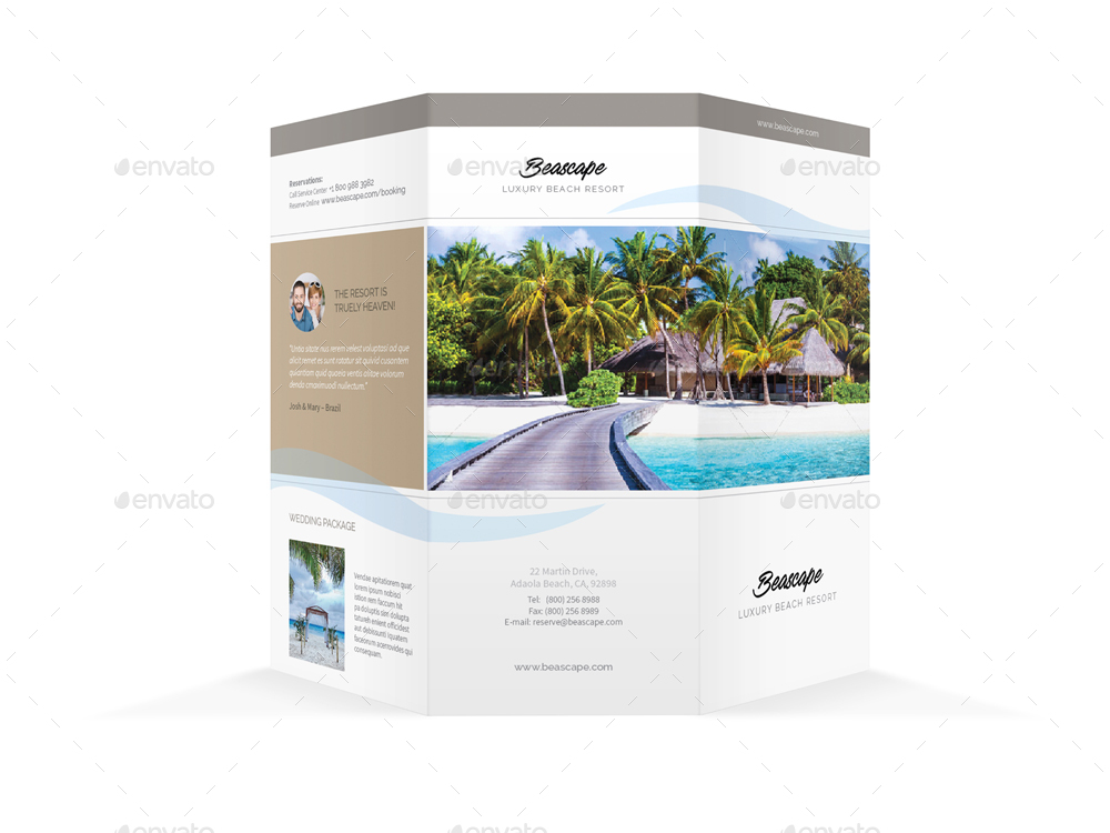 Beach Resort Trifold Brochure 2 by Mike_pantone GraphicRiver