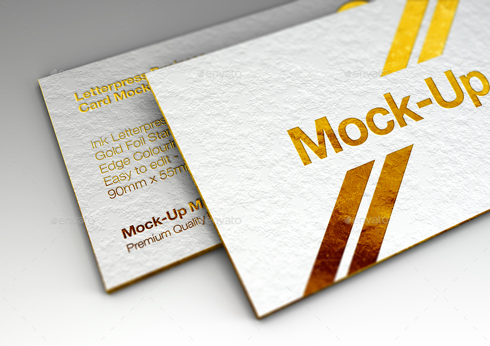 Luxury Gold Foil  Ink Letterpress Business Card Mock-Up by Mock-Up