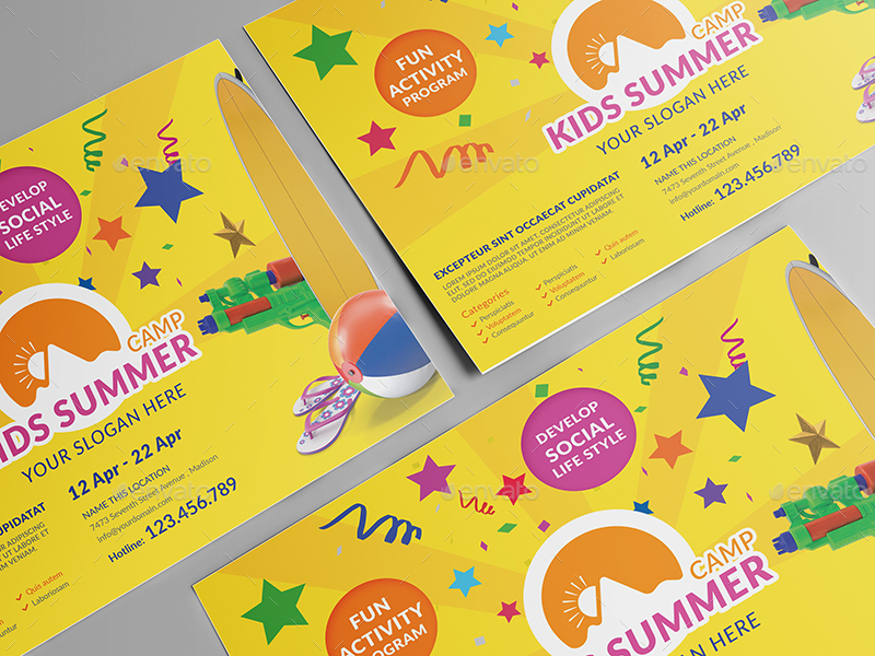 Kids Summer Camp/ Flyer Template by wutip2 GraphicRiver - Summer Camp Flyer Template
