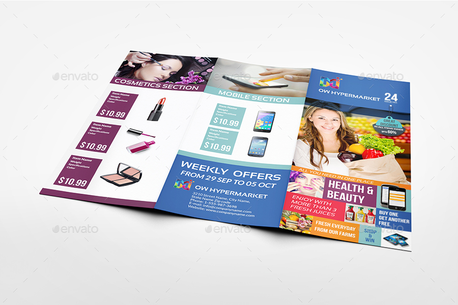 Supermarket Products Tri-Fold Catalog Brochure Template by OWPictures