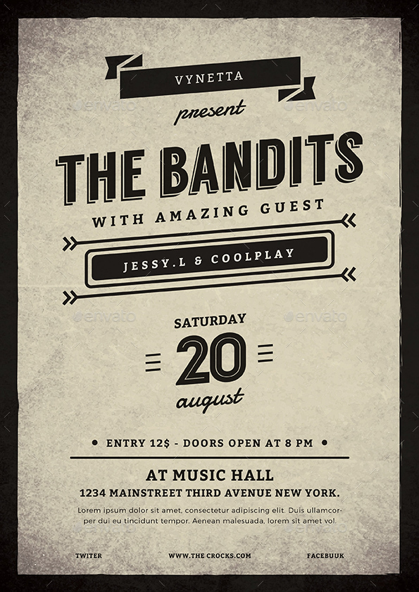Vintage Typography Music Poster / Flyer by vynetta GraphicRiver