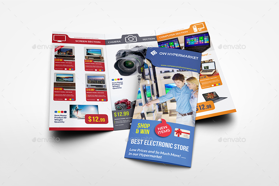 Electronics Products Catalog Tri-Fold Brochure Template by OWPictures