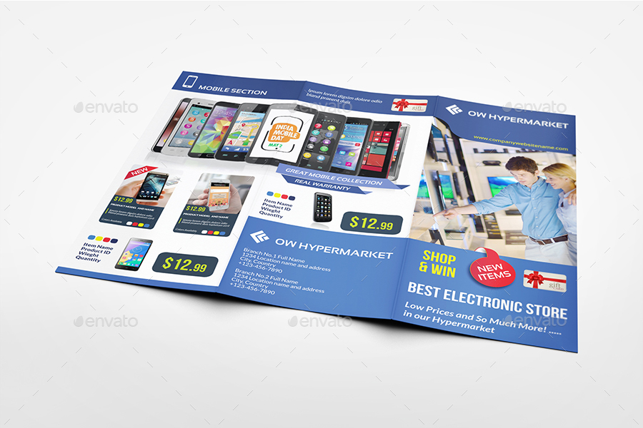 Electronics Products Catalog Tri-Fold Brochure Template by OWPictures - Product Brochure Template
