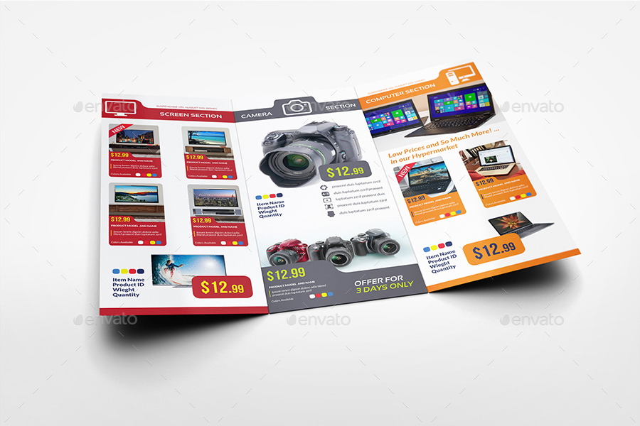 Electronics Products Catalog Tri-Fold Brochure Template by OWPictures - product brochure template