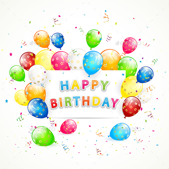Happy Birthday Background with Balloons by losw GraphicRiver - birthday backround