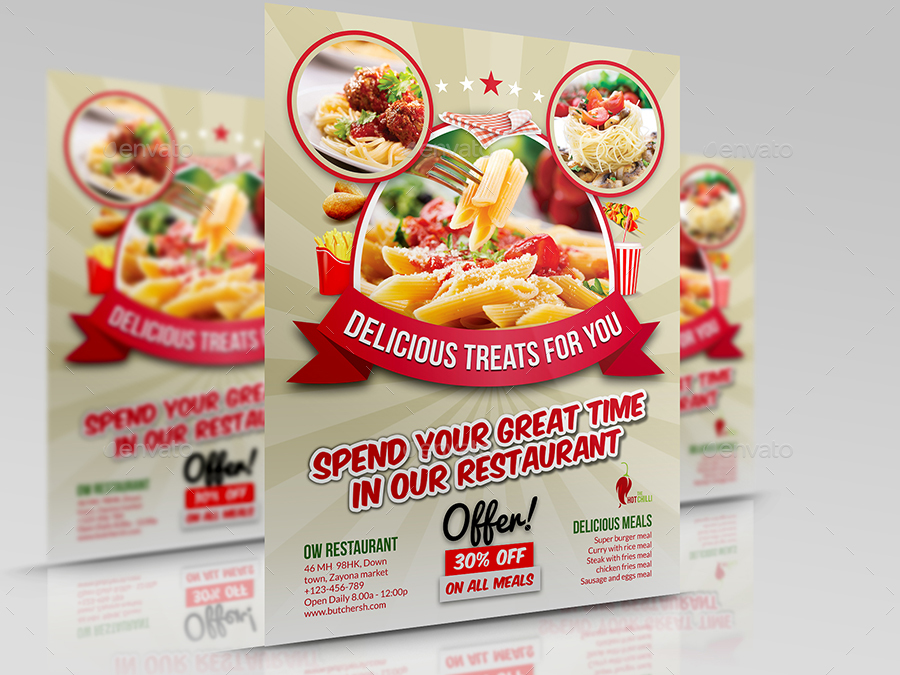 Restaurant Flyer Template Vol10 by OWPictures GraphicRiver