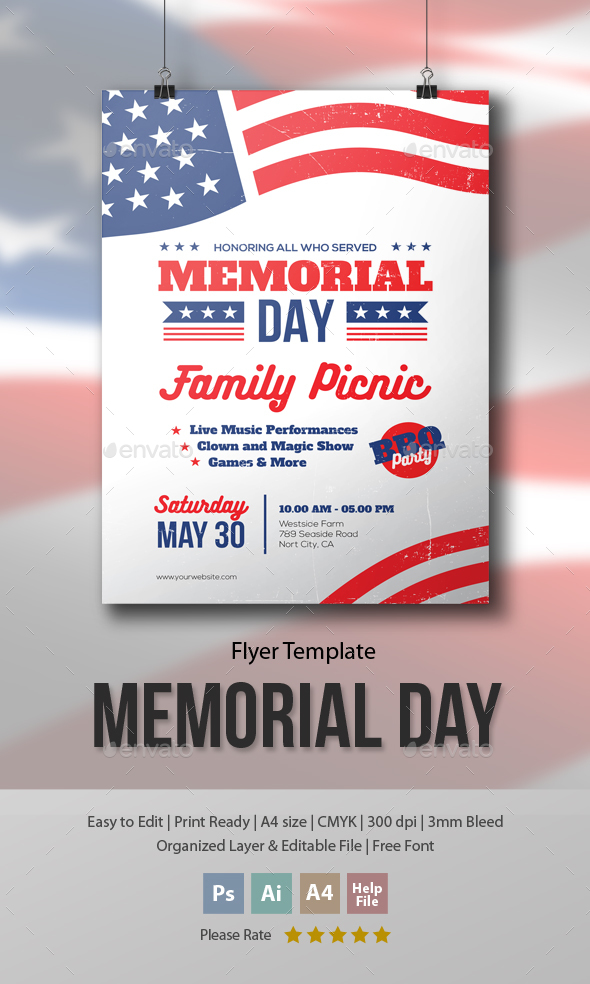Memorial Day - Family Picnic Flyer Template by me55enjah GraphicRiver - picnic flyer template