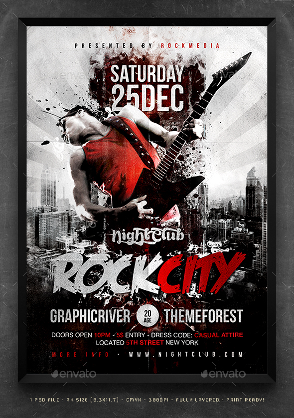 Rock City Concert Flyer / Poster by Fadeink GraphicRiver